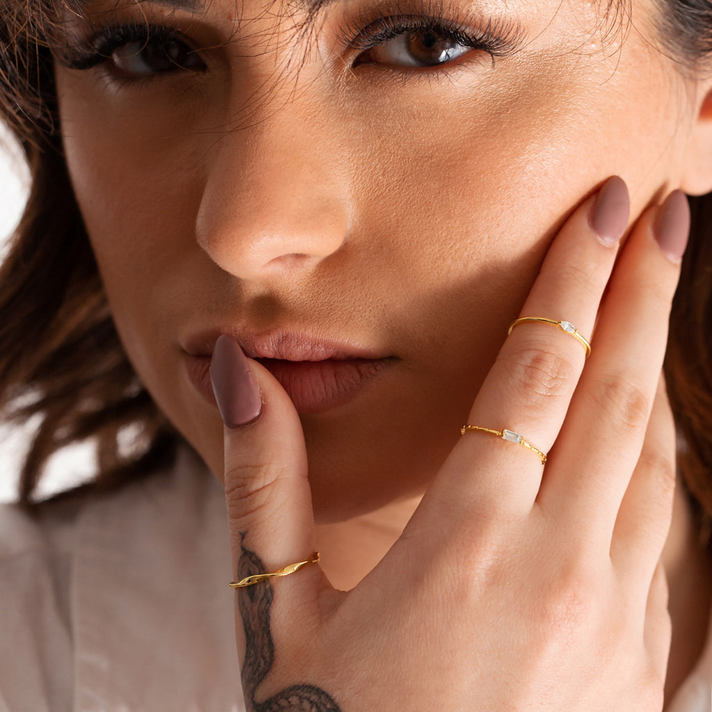 Omni Baguette Gemstone Ring on model 2 - gold