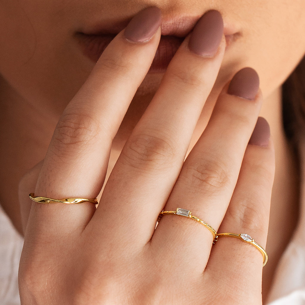 Omni Baguette Gemstone Ring on model - gold