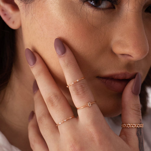 Momento Gemstone Ring on model 2 - rose gold