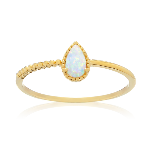 Opal Teardrop Ring - gold