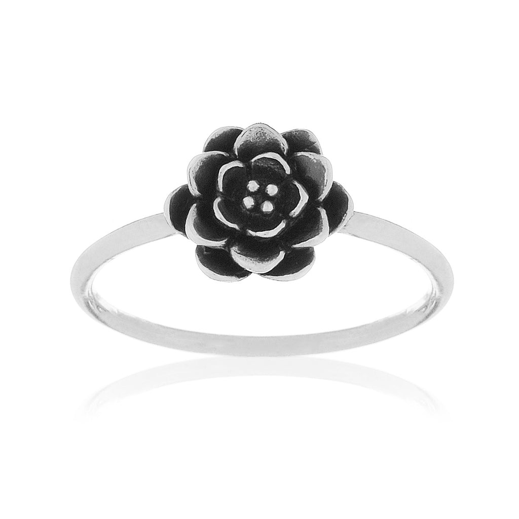 Peony Flower Ring - sterling silver
