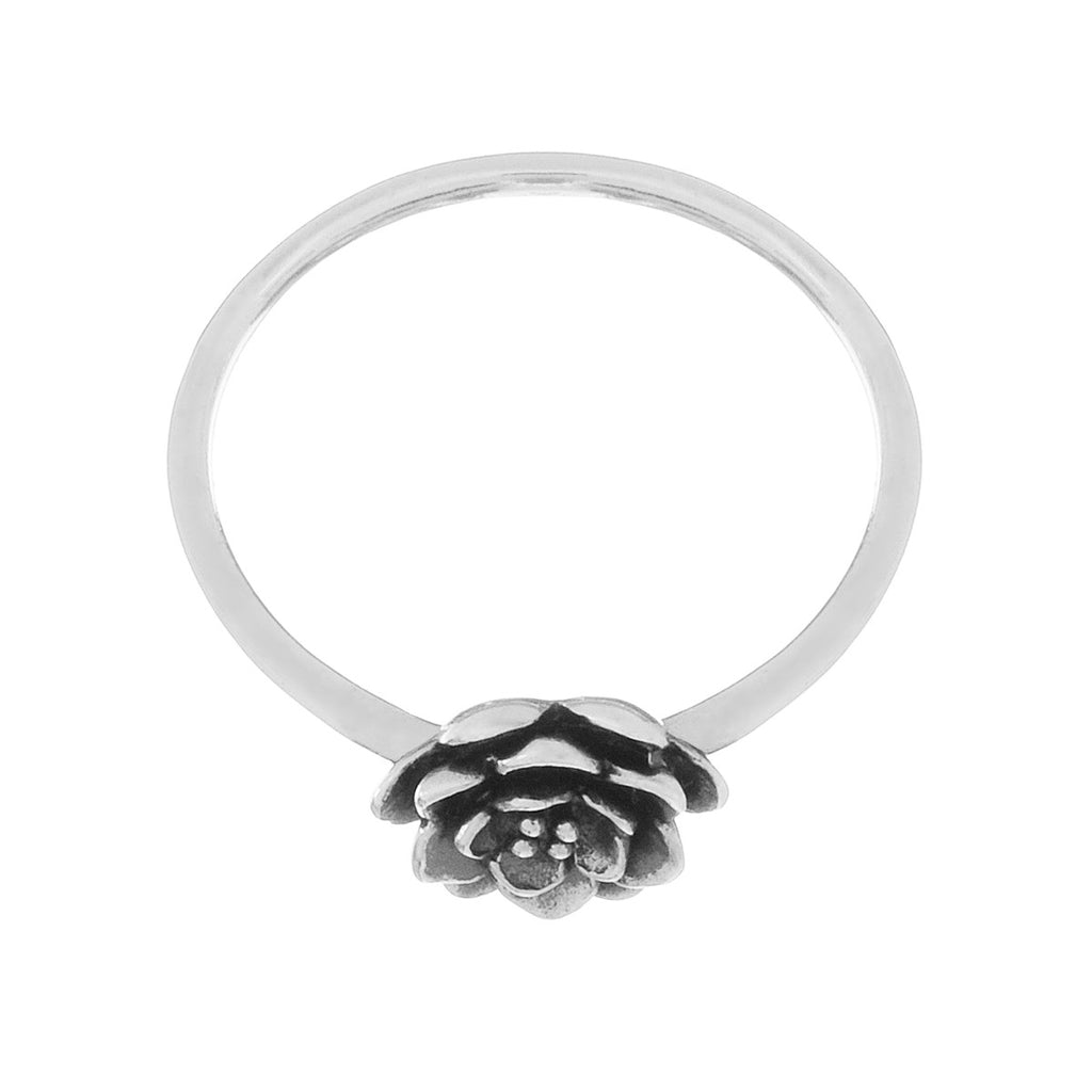 Peony Flower Ring side view - sterling silver