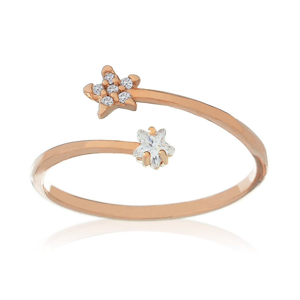 Cosmo Sparkle Star Ring - rose gold