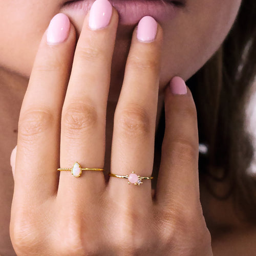 Opal Teardrop Ring on model - gold