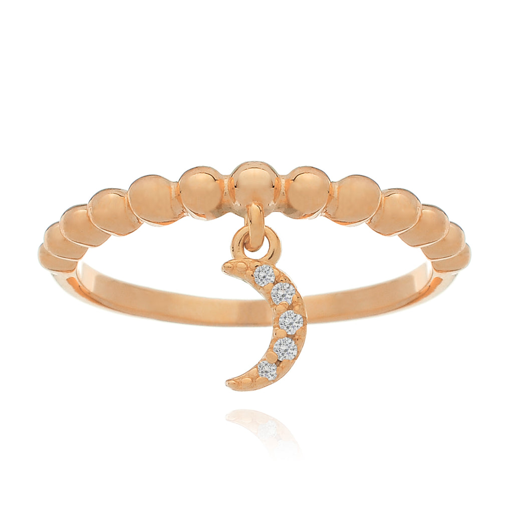 Every Moon Crescent Charm Ring - rose gold