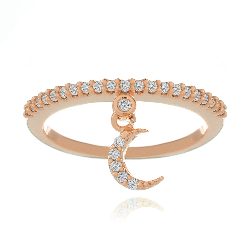 Goodnight Moon Charm Ring - rose gold