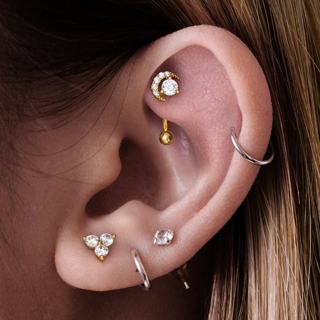 Selene Moon Daith & Rook Piercing on model - gold