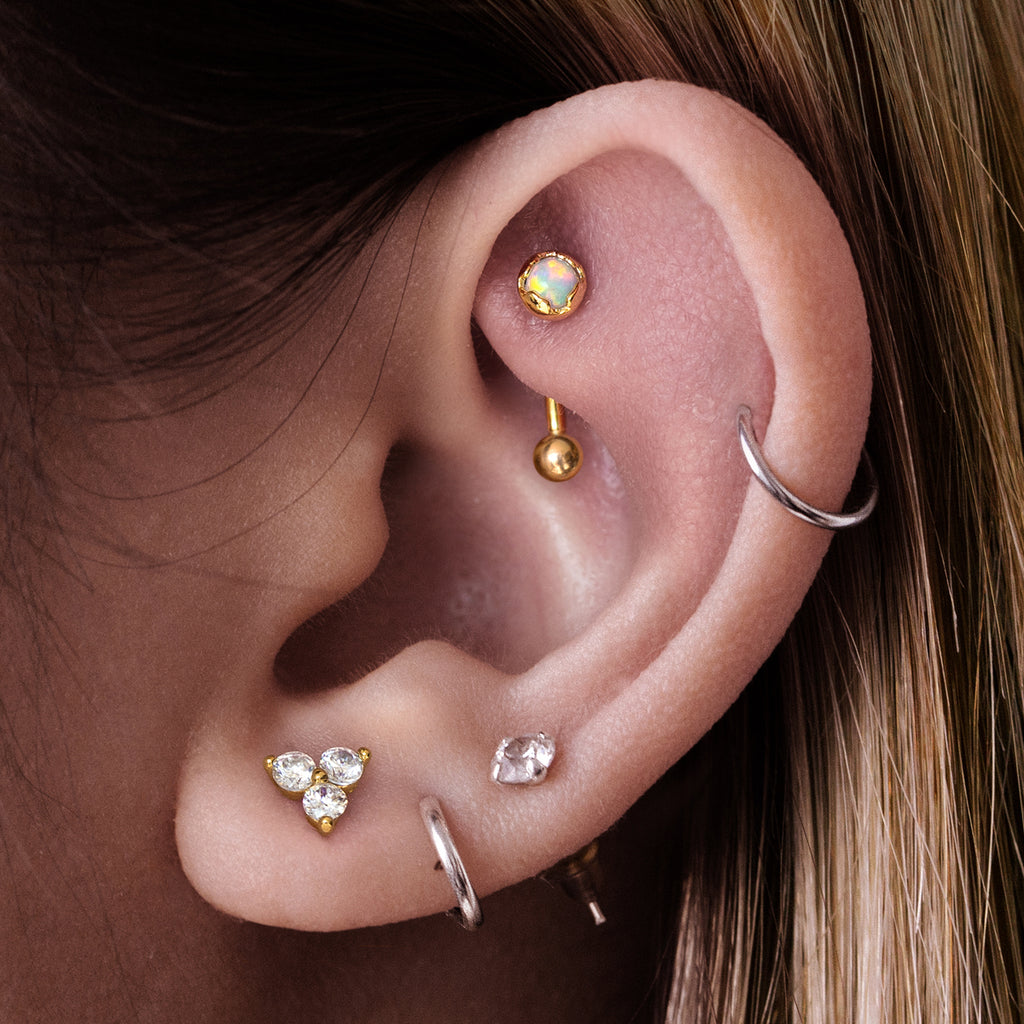 Antidote Opal Daith & Rook Piercing on model - gold