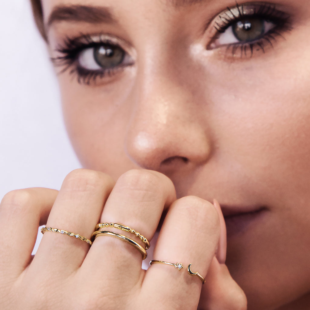 Juxtapose Twin Band Cuff Ring on model - gold