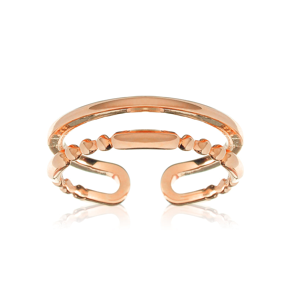 Juxtapose Twin Band Cuff Ring - rose gold