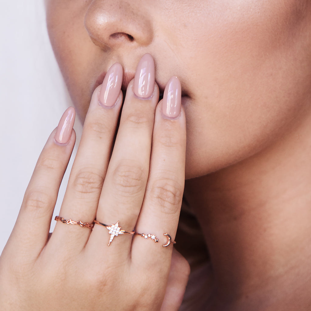 Moonbeam Sparkle Ring on model - rose gold