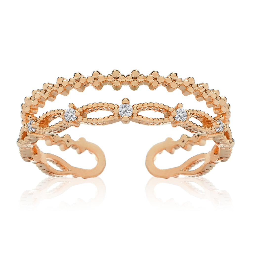 Oceane Double Tier Gemstone Ring - rose gold