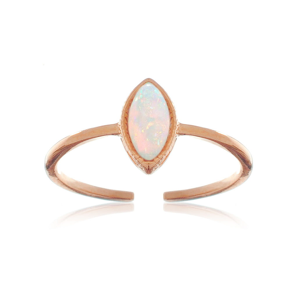 Oval Opal Ring - rose gold
