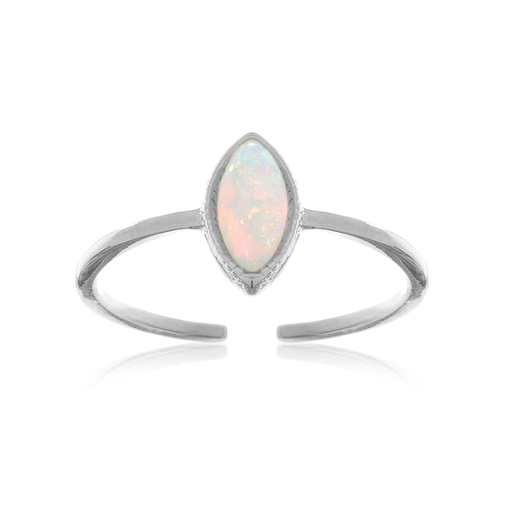 Oval Opal Ring - silver