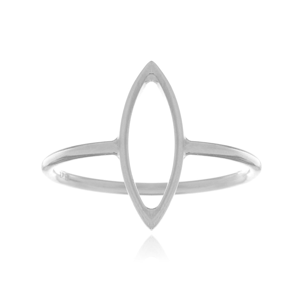 Sense Hollow Oval Ring - sterling silver