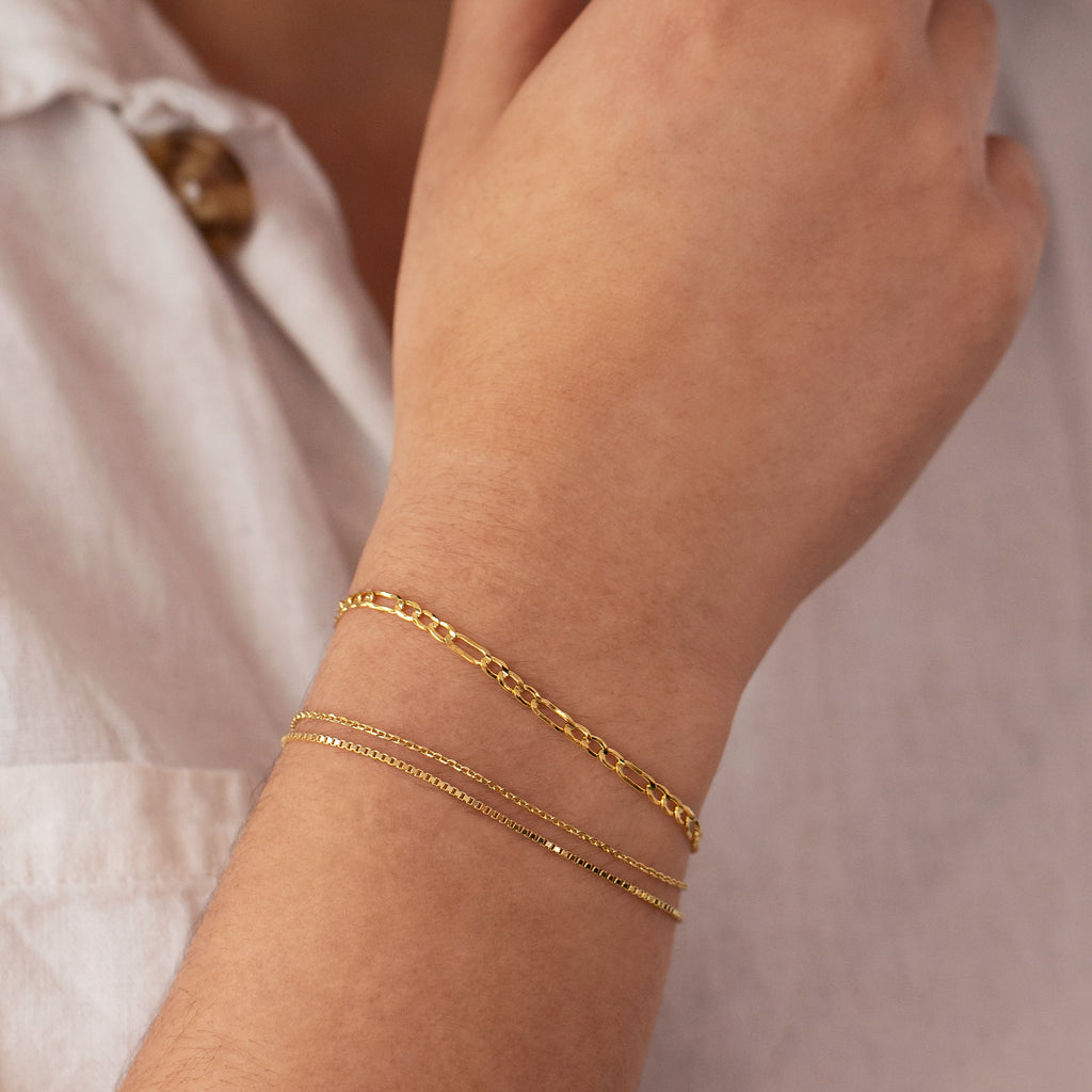 Nina Italian Chain Bracelet on model 2 - gold