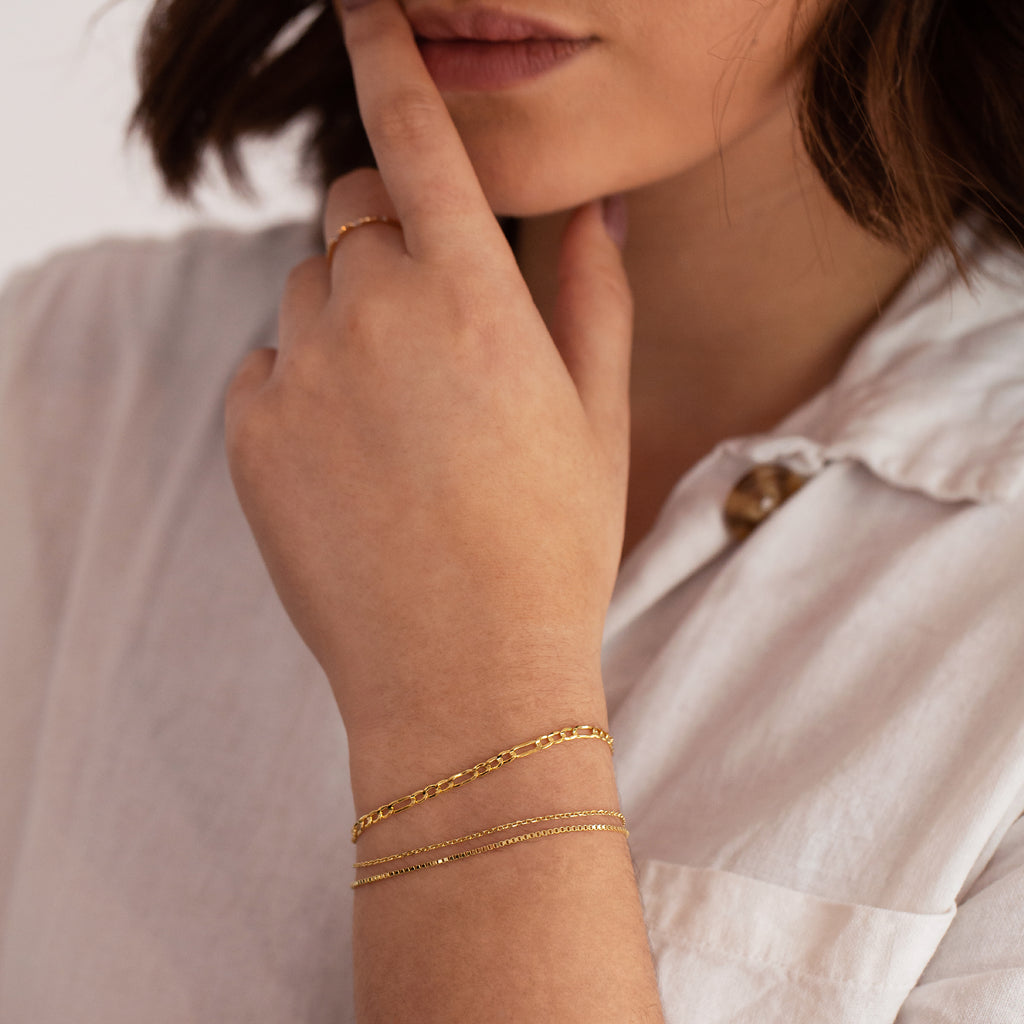 Nina Italian Chain Bracelet on model - gold