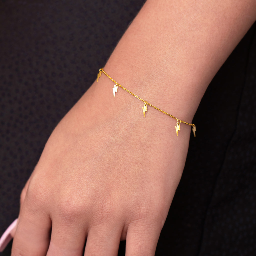 Jolt Lightning Bolt Bracelet on model - gold
