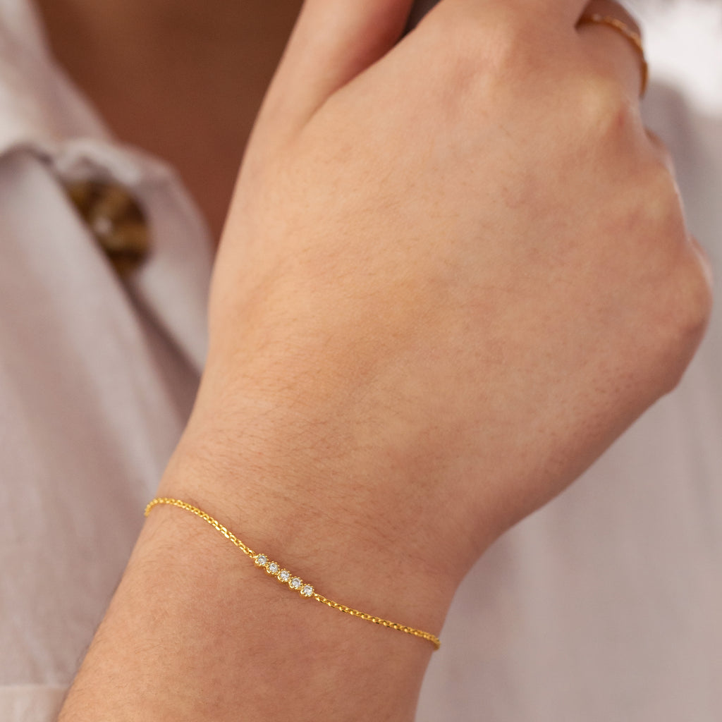Vive Gemstone Bracelet on model 2 - gold