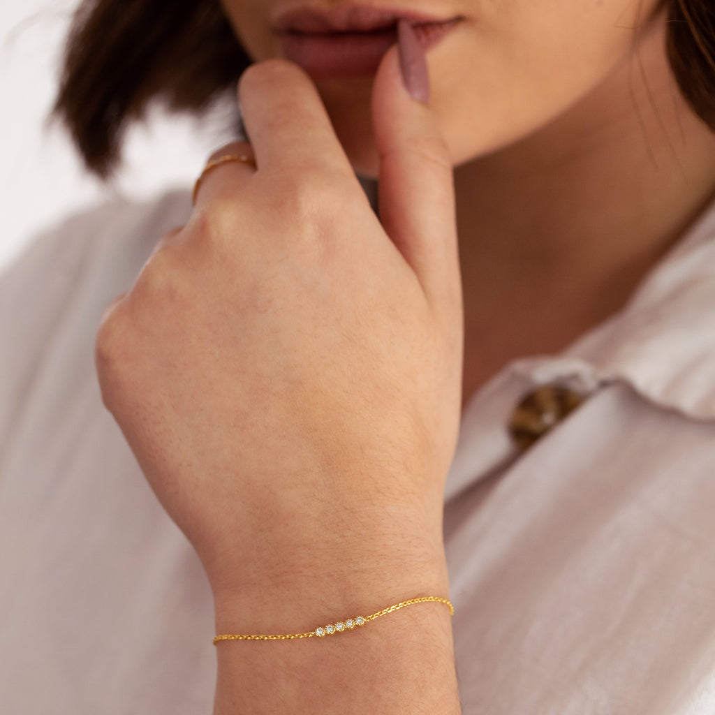 Vive Gemstone Bracelet on model - gold