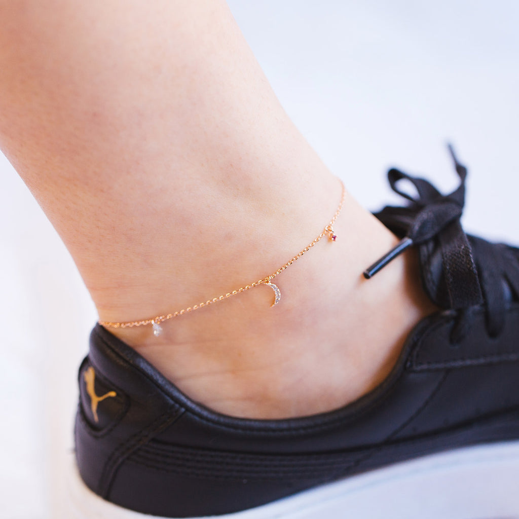 Autumn Nights Moon Anklet on model - gold