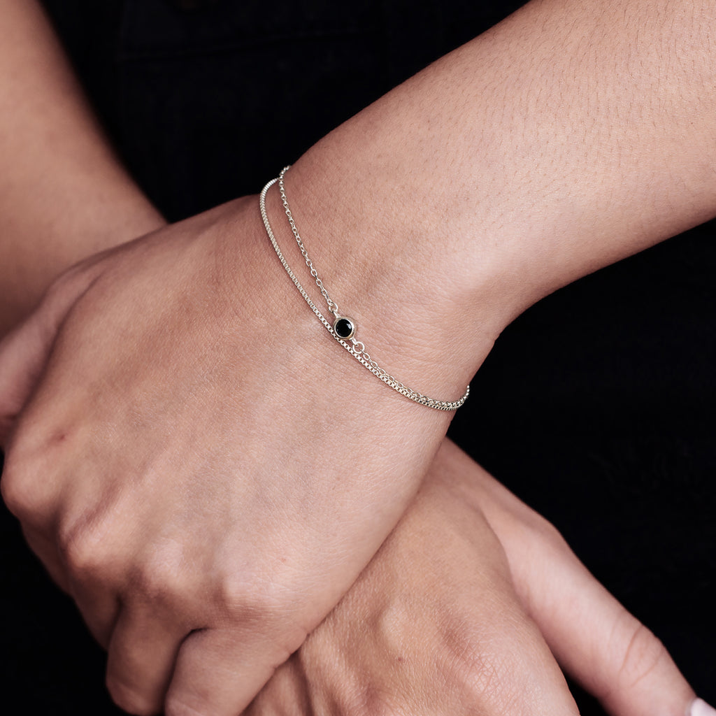 Core Layered Bracelet on model - silver