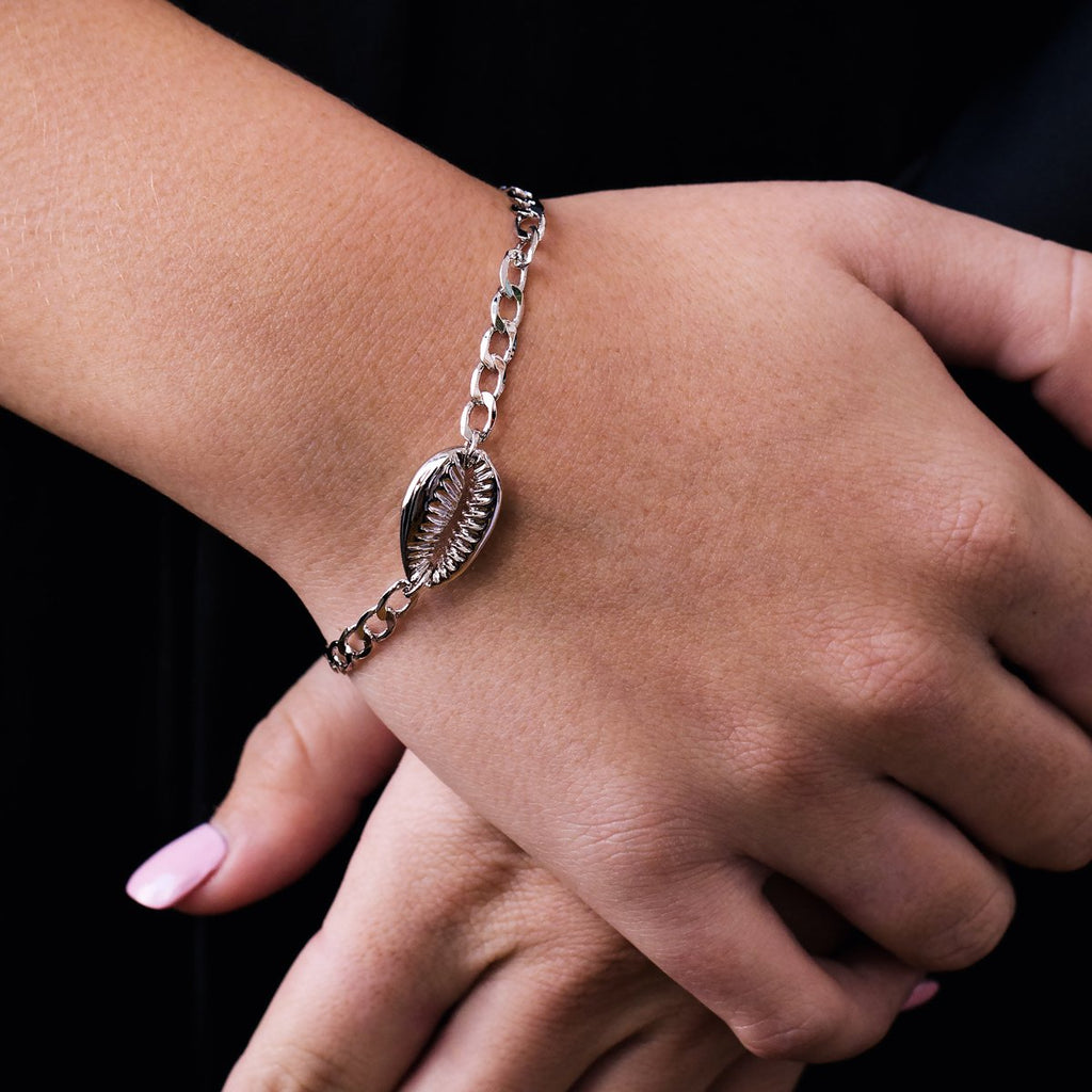 Cowry Shell Bracelet on model - silver