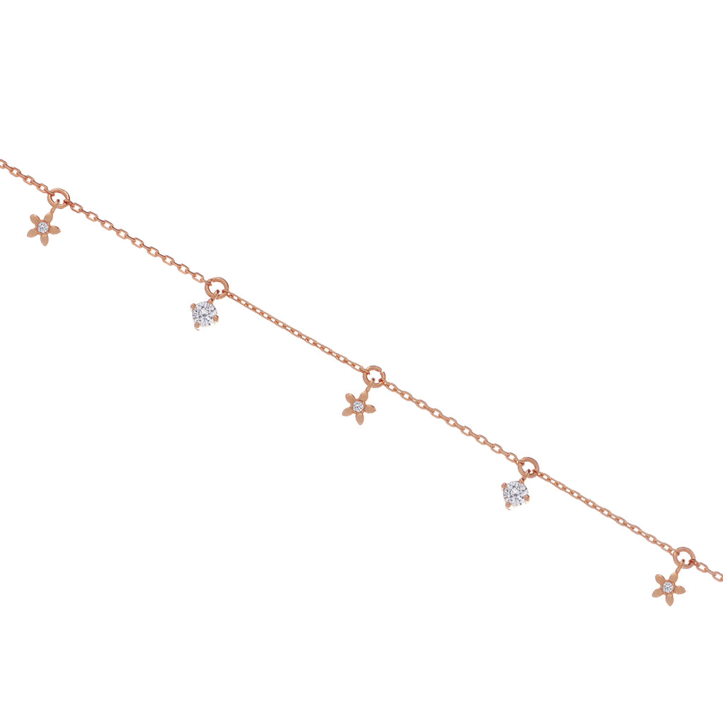 Daisy Chain Gem Anklet - rose gold