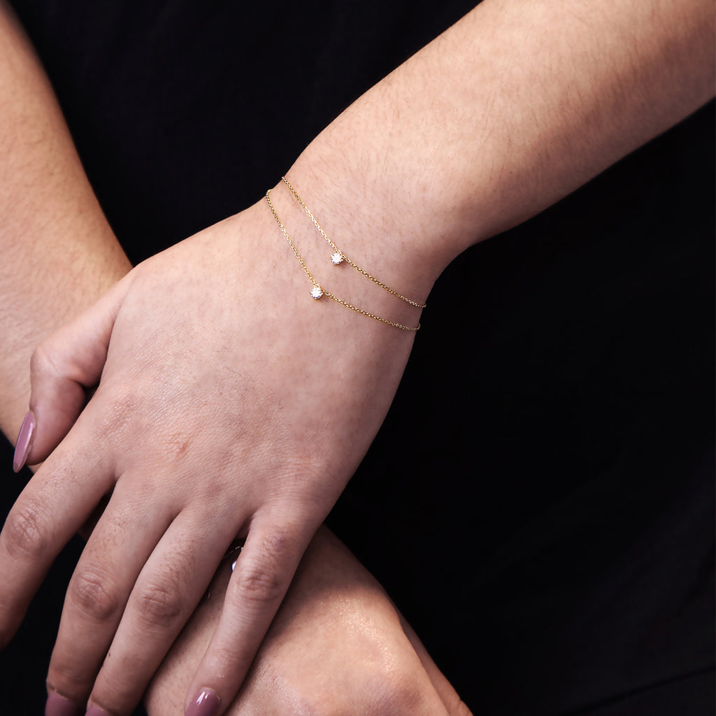 Gemini Double Gem Bracelet on model - gold