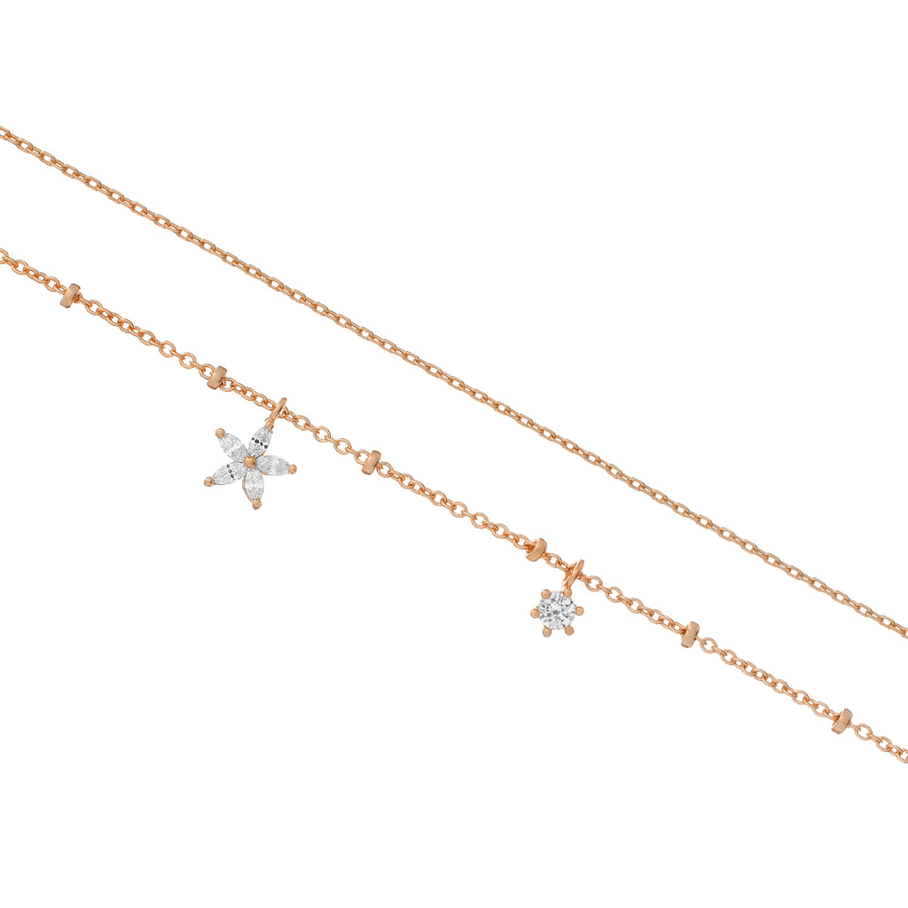 Hibiscus Chain Flower Bracelet - rose gold