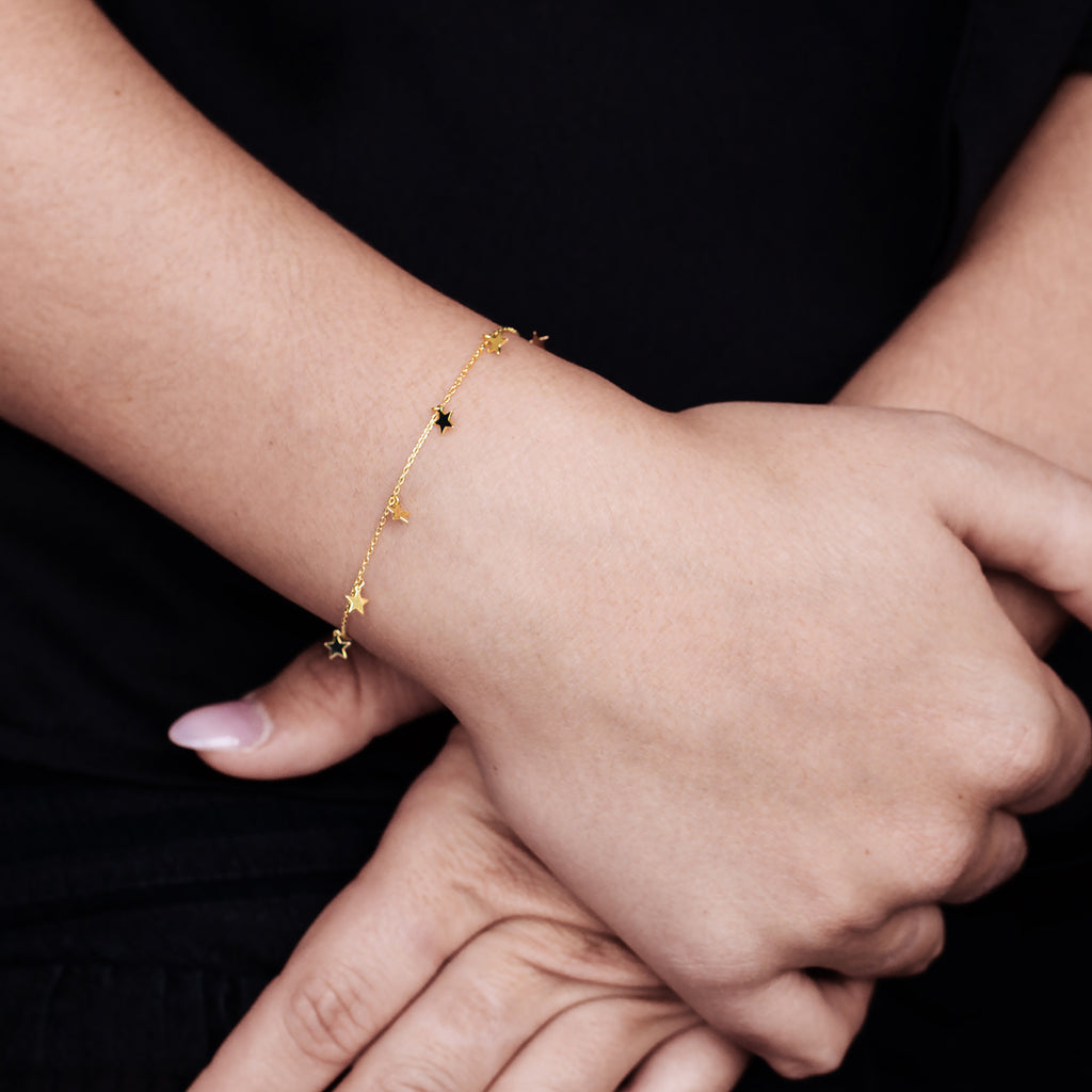 Milkyway Stars Bracelet on model - gold