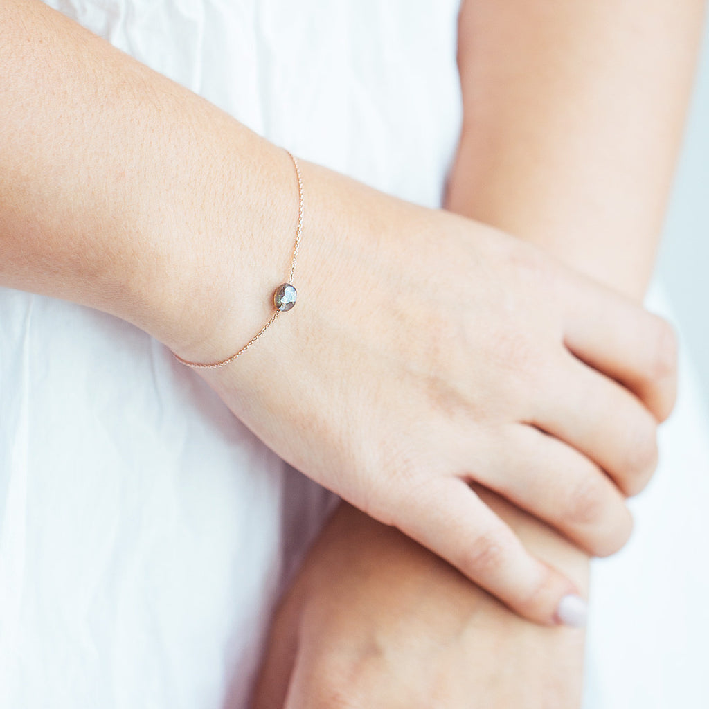 Mooncatcher Bracelet on model close up - rose gold