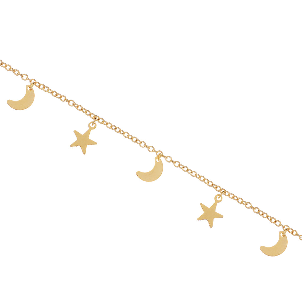 Night Child Moon & Star Bracelet - gold