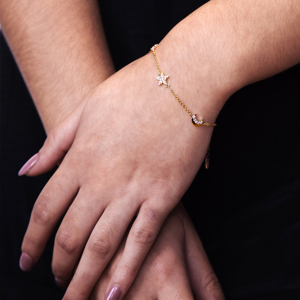Twilight Moon & Star Bracelet on model - gold