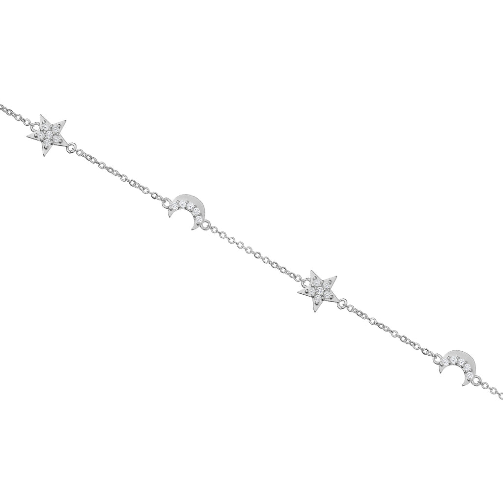 Twilight Moon & Star Bracelet - silver