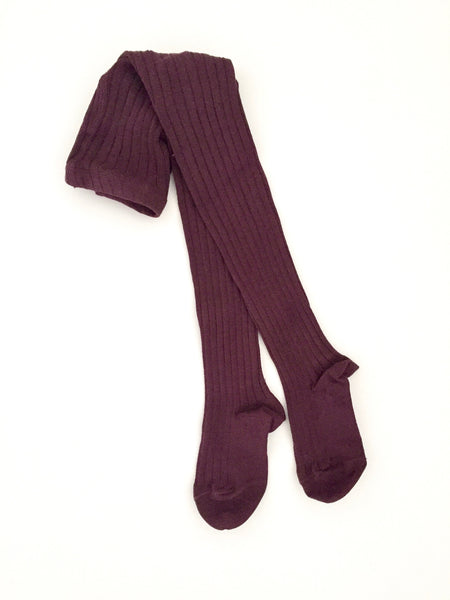 Condor Plum Ribbed Tights