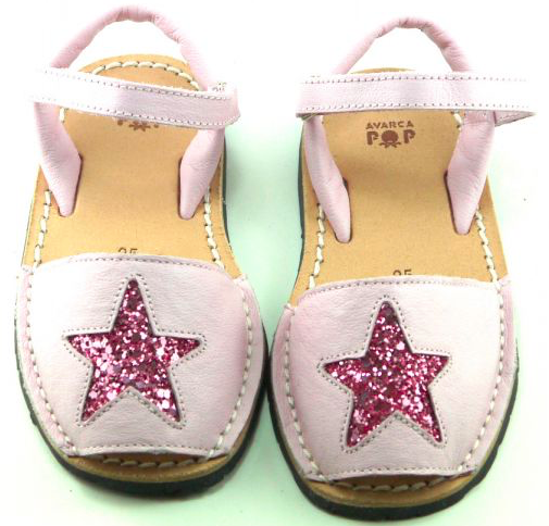 pink glitter star leather minorcan avarca sandals poppeto