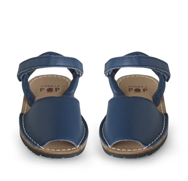 Blue leather Avarca pop children sandals