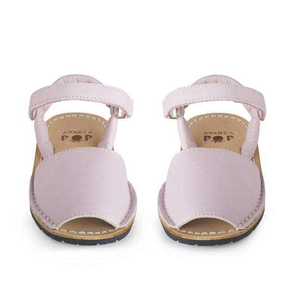 pale pink leather childrens avarca minorcan sandals poppeto