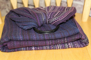 Hand Woven Ring Sling - 2.0m Midnight Magnolias - Mauve Fonce Weft - Pebble Weave
