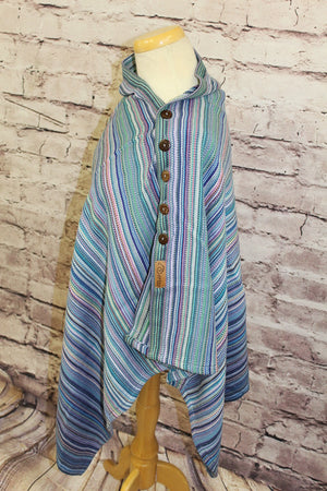 Hand Woven Button Poncho - Fearless - Periwinkle Bamboo Weft - Plain Weave