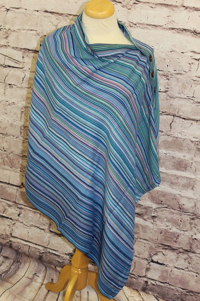 Hand Woven Button Poncho - Fearless - Royal Bamboo Weft - Plain Weave