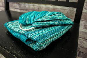 Hand Woven Ring Sling - 2.0m Girls Best Friend - Aquamarine Weft - Pebble Weave