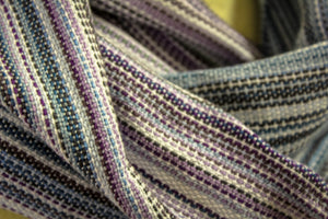 Hand Woven Infinity Scarf - Glazed Pastels - Natural Bamboo Weft - Plain Weave