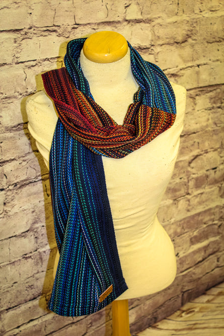 Hand Woven Classic Scarf // Blaze Eis - Navy Bamboo Weft - Erizo Weave