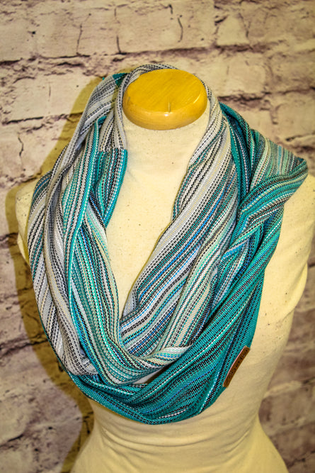 Hand Woven Infinity Scarf // Girls Best Friend - Gris Pale Bamboo Weft - Plain Weave