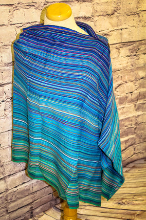 Hand Woven Button Poncho // Hug From Poppi - Royal Bamboo Weft - Plain Weave
