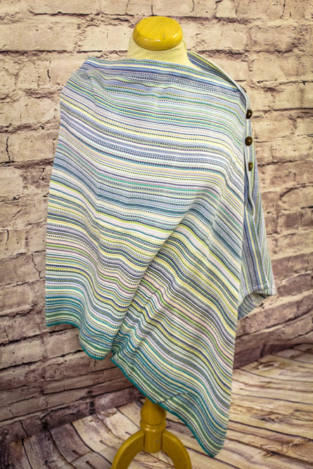 Hand Woven Button Poncho // Smallest Things - Natural Bamboo Weft - Plain Weave