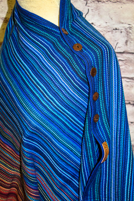 Hand Woven Button Poncho // Blaze Eils - Royal Bamboo Weft - Plain Weave