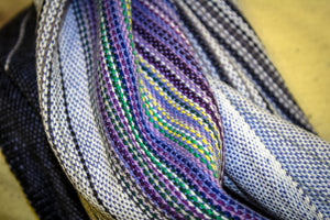 Hand Woven Infinity Scarf // Oz Wakes - Periwinkle Bamboo Weft - Plain Weave